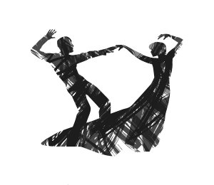 abstract dancing couple silhouette on white background